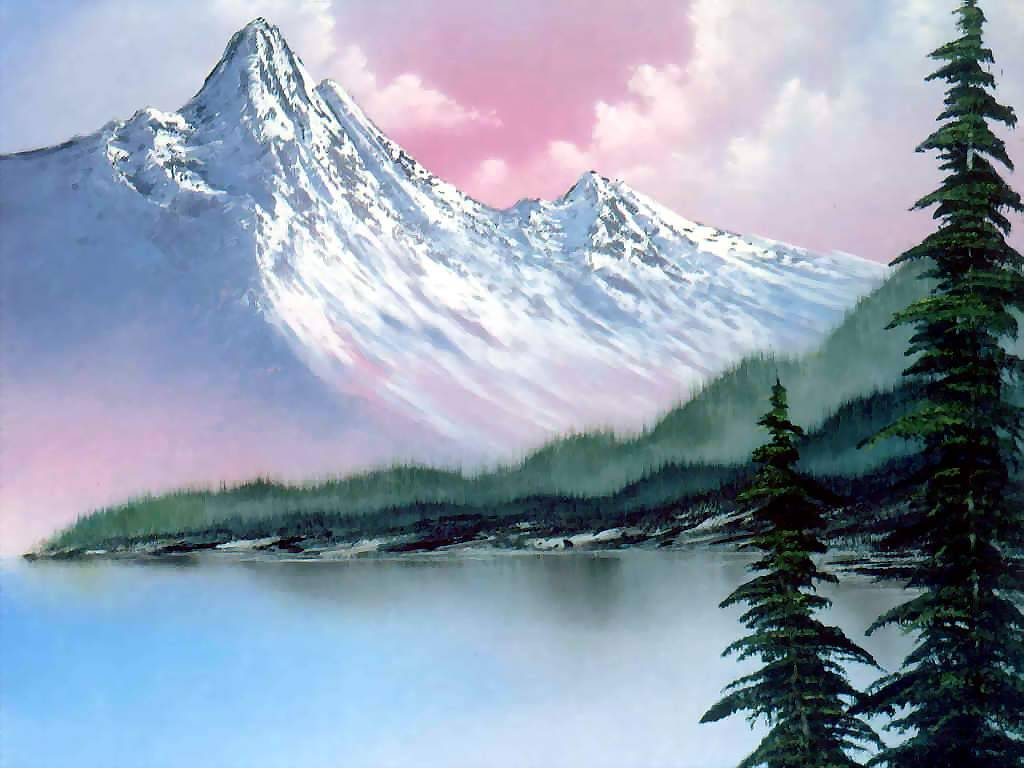 easy mountain landscape painting. bob ross oil painting la001 easy mountain landscape t